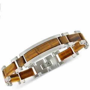 Macy's Tiger's Eye & Stainless Steel Bracelet